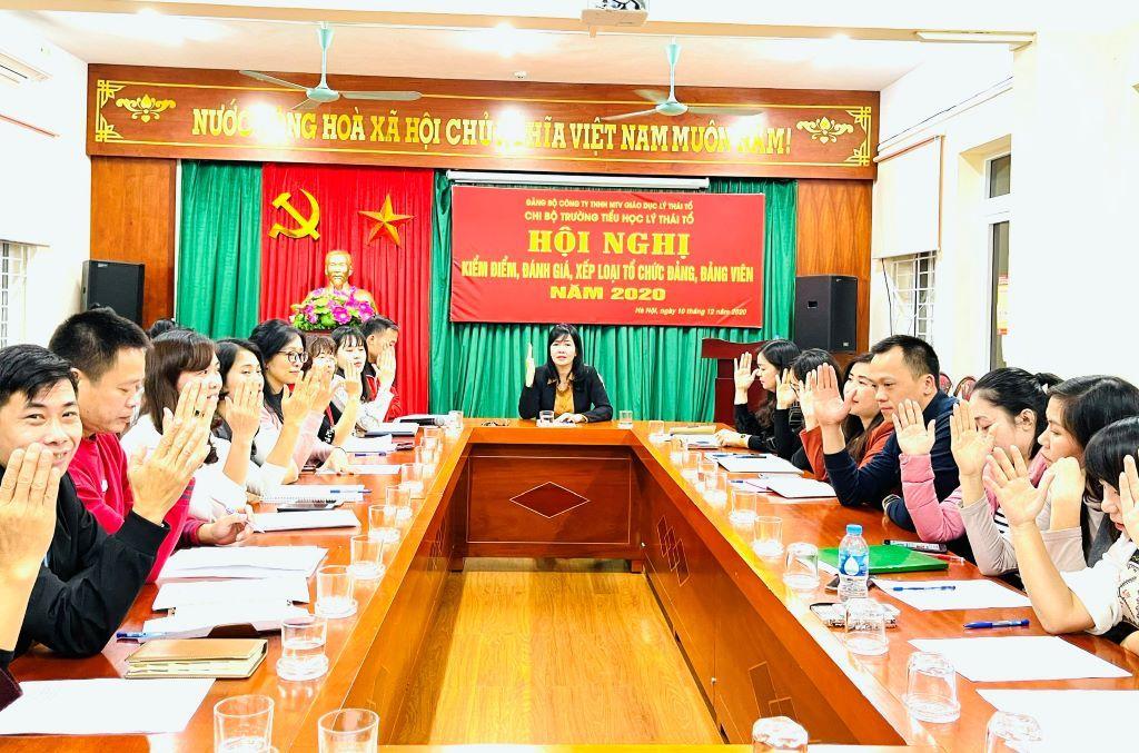100% Đảng viên Chi bộ trường Tiểu học Lý Thái Tổ hoàn thành xuất sắc và hoàn thành tốt nhiệm vụ