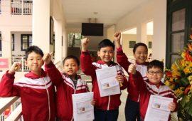 Đội tuyển Violympic Toán Tiếng Anh trường Lý Thái Tổ trong buổi ra quân tham gia vòng thi Thành phố năm 2017