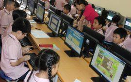 Học sinh nhà trường tham gia cuộc thi Violympic Toán trên mạng Internet