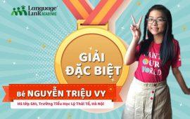 """Nguyễn Triệu Vy – Cô bé giành giải Đặc biệt cuộc thi """"So tài phát âm cùng quán quân Olympic Tiếng Anh"""" lần thứ 15"""